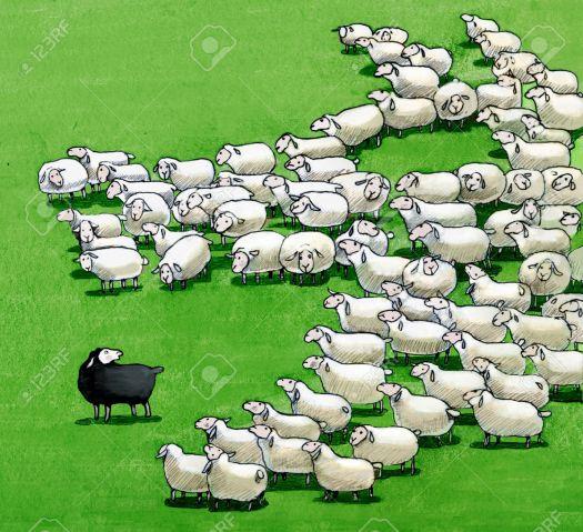46633358-un-troupeau-que-vu-de-dessus-forment-un-loup-qui-veut-manger-le-mouton-noir-Banque-d'images